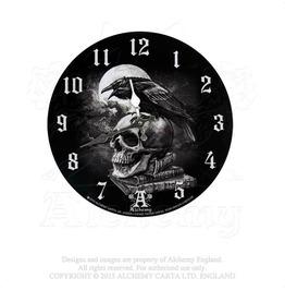 Edgar Allen Poe's Nevermore Raven Skull Black White Wall Clock By Alchemy