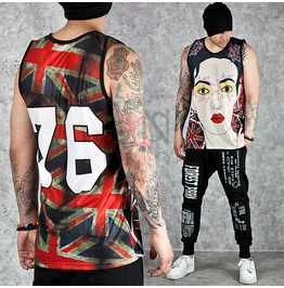 Union Jack Motivated Face Printed Mesh Round Tank 73