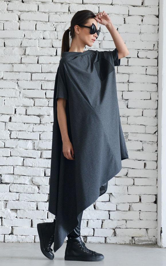 Newasymmetrical Loose Grey Dressfallen Sleeve Maxi Dressplus Size