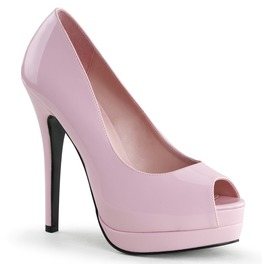 Bordello Bella Peep Toe Pump Pink, White, Red, And Cream