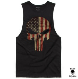 American Flag Punisher Skull Mens Muscle Tee