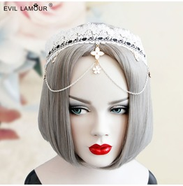 Handmade White Lace Long Tassels Gothic Hair Accessories Fg 66