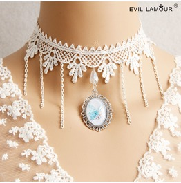 Handmade White Lace Long Tassels Pendent Gothic Necklace Jl 39