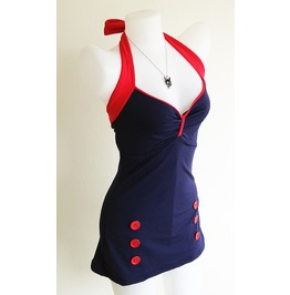 Retro Navy Blue Women Rockabilly Pin Blue Swimsuit Women Ladies Swimwear