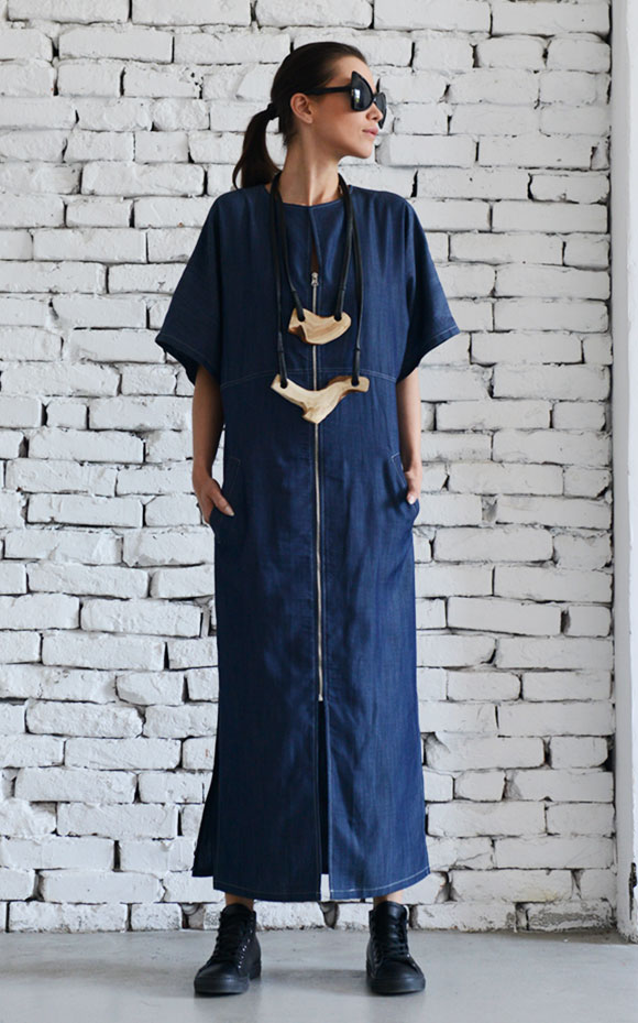 Long Denim Dressshort Sleeve Kaftanblue Maxi Dressplus Size Denim