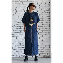 Long Denim Dress/Short Sleeve Kaftan/Blue Maxi Dress/Plus Size Denim Dress