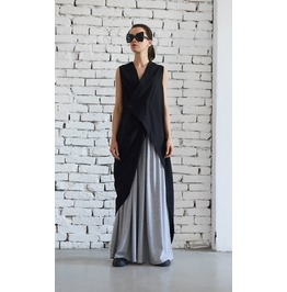 Long Linen Top / Asymmetric Black Top / Sleeveless Tunic / Black Womens Top