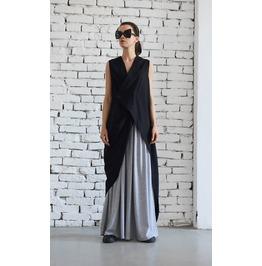 Long Linen Top / Asymmetric Black Top / Sleeveless Tunic / Black Womens Top