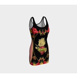 Funky Sacred Heart With Vintage Roses, Skulls & Red Gingham Bodycon Dress