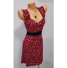 Women's 50s Sexy Rock Punk Emo Retro Dress Red Pink Leopard