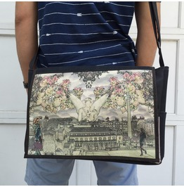 Student Angel Print Benga Rabbit Messenger Bag