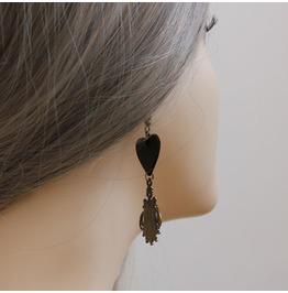Handmade Black Heart Long Tassels Gothic Earring Eh 42