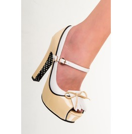 Banned Apparel June Open Toe Kitten Heels Cream And Mint