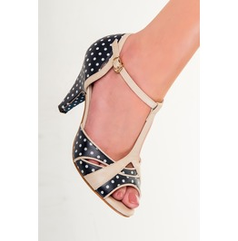 Banned Apparel Norma Polkadots Dancing Shoes Navy And Red