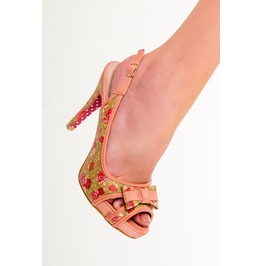 Banned Apparel Marylou Polkadots Strappy Dancing Shoes Peach And Blue