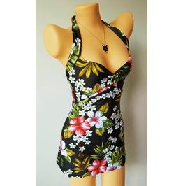 Hawaii Black New Women Rockabilly Pin Blue Swimsuit Women Swimwear