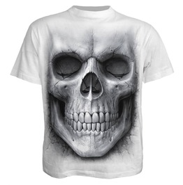 Men White Print Skull T Shirt