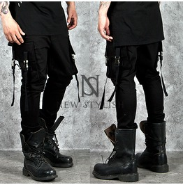 Unique Buckled Cargo Pocket Accent Black Sweatpants 187