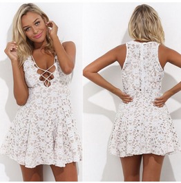 Summer Casual Cocktail Party Evening Sleeveless Lace Mini Dress