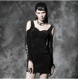 Steampunk Off Shoulder Lace Tie Up Sleeves Short Dress