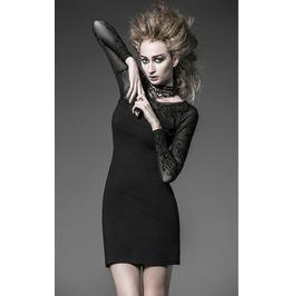 Steampunk Lace Neckline Pattern Mesh Sleeves Short Dress