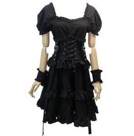 Steampunk Puff Sleeves Rivets Tie Up Short Dress