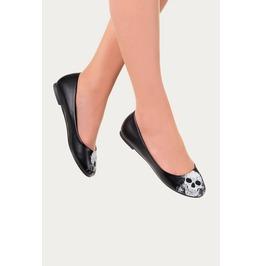 Banned Apparel Black Skull Ballerina Flats