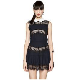 Steampunk Black Crochet Lace Short Dress