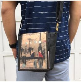 Mini, Paris Print, Benga Rabbit Messenger Bag