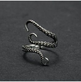 Steampunk Antique Silver Adjustable Octopus Ring