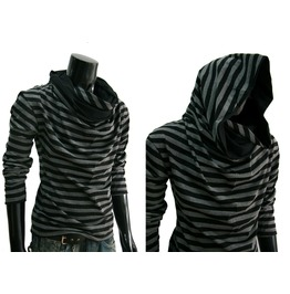 New Stripe Cowl Tunnel Neck Hoodie Cloak Long Sleeve Shirt Men L Xl Xxl