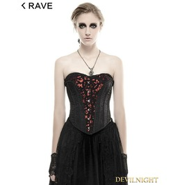 Black Gothic Three Dimensional Flowers Corset