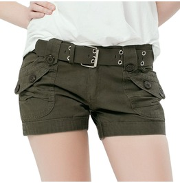 Green Denim Military Women's Shorts