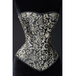 Steel Boned Gold Brocade Gothic Victorian Overbust Corset $6 Shipping
