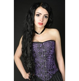 Steel Boned Purple Jacquard Victorian Gothic Overbust Corset $6 Shipping