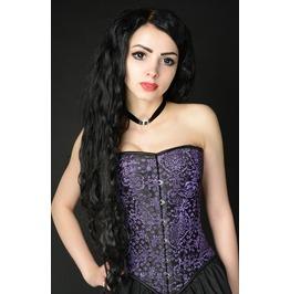 Steel Boned Purple Jacquard Victorian Gothic Burlesque Overbust Corset