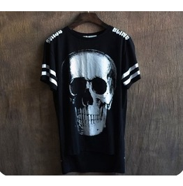 High Quality Man Skull Dark Irregular Popular Printing Short Sleeve T Shirt