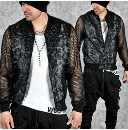 See Thru Mesh Accent Leather Embroidered Blouson Jacket 200