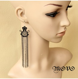 Handmade Black Lace Super Long Tassels Gothic Earring Er 3