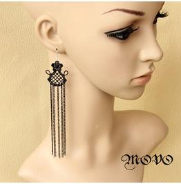 Handmade Black Lace Super Long Tassels Gothic Earring Er 3