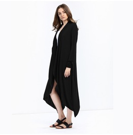 Women's Long Sleeved Asymmetric Maxi Knitted Cardigan Black