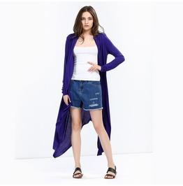 Women's Long Sleeved Asymmetric Maxi Knitted Cardigan Blue