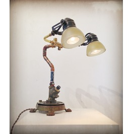 Steampunk Lamp Found Object Assemblage Light Sculpture
