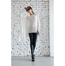 Asymmetric White Lace Tunic/Loose Long Sleeve Tunic/Extravagant White Dress