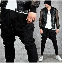Multiple Strap Accent Black Long Banded Hem Sweatpants 188