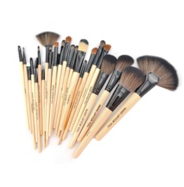 24 Portable Makeup Brush Sets Makeup Brush Wood Pu Leather Makeup Tools