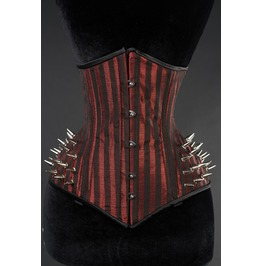 Steel Boned Red Black Striped Spike Victorian Goth Underbust Extreme Corset