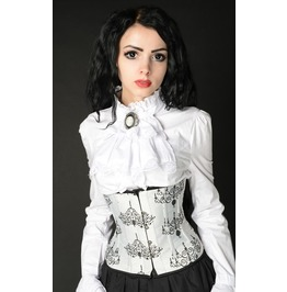 Steel Boning Black White Candelabra Straight Cut Underbust Corset $6 To Ship