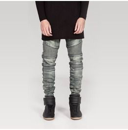 Men's Distressed Gray Skinny Denim Jeans