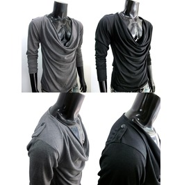 New Cowl Wide Neck Soft Cotton Long Sleeve Shirt Men S M L
